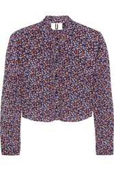Topshop Unique Ottoline Cropped Silk Crepe De Chine Blouse Blue