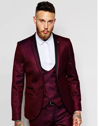 Noose And Monkey Tuxedo Suit Jacket With Stretch In Skinny Fit Burgundy
