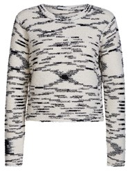 Oui Abstract Detail Jumper White Black