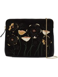 Lizzie Fortunato Jewels Embroidered Flower Clutch Black