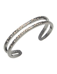 Design Lab Lord And Taylor Pave Accented Double Row Cuff Bracelet Gunmetal