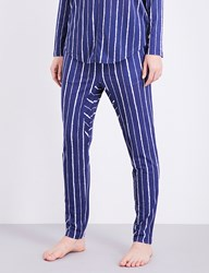Chalmers Alice Bamboo And Cotton Blend Pyjama Bottoms Coffee Stripe Navy