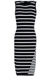 Line Striped Knitted Dress Black