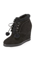 Michael Kors Chadwick Pom Pom Wedge Booties Black