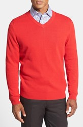 Men's Big And Tall Nordstrom Cotton And Cashmere V Neck Sweater Red Blaze