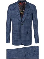 Paul Smith Checked Suit Blue