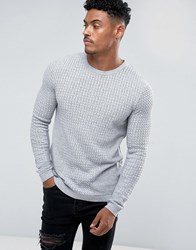 Asos Muscle Fit Lightweight Cable Sweater In Gray Gray