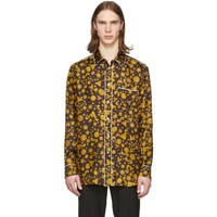 Versace Gold And Black Barocco Western Shirt