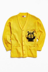 Urban Outfitters Vintage Varsity Ss Junior High Cardigan Gold