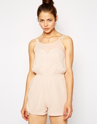 Ax Paris Playsuit With Mesh Insert Nude