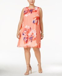 Calvin Klein Plus Size Printed Floral Trapeze Dress Coral Multi