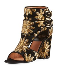 Laurence Dacade Rush Metallic Embroidered Open Toe Bootie Black Gold