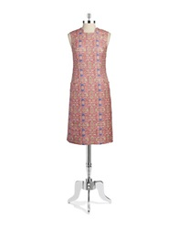 Anne Klein Patterned Sheath Dress Pink Multi