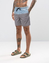 Asos Swim Shorts In Grey Acid Wash With Blue Panel Mid Length Grey