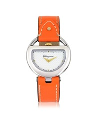 Salvatore Ferragamo Buckle Collection Silver Tone Stainless Steel Case And Orange Leather Strap Women's Watch