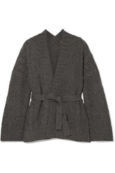 Loro Piana Belted Cable Knit Cashmere Cardigan Dark Gray