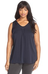 Plus Size Women's Classiques Entier Ruched V Neck Stretch Silk Top Navy Captain