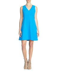 1.State V Neck Fit And Flare Dress Blue