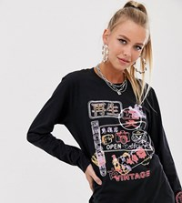 Reclaimed Vintage Inspired Long Sleeve T Shirt With Neon Graphic Sign Black