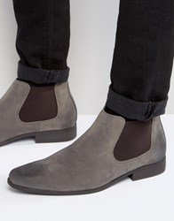 Asos Chelsea Boots In Grey Faux Suede Grey