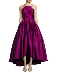 Betsy And Adam Halter Satin Ball Gown Magenta