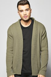 Boohoo Fit Ribbed Cardigan Olive