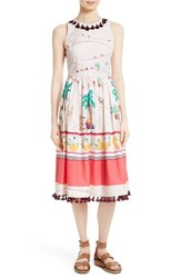 Kate Spade Women's New York Embellished Print Cotton Fit And Flare Dress