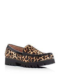 Donald J Pliner Rio Giraffe Print Calf Hair Loafers Natural Black
