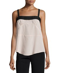See By Chloe Pleated Trim Square Neck Tank Taupe Brown Black