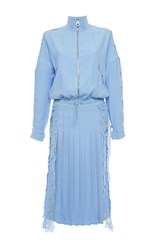 Versace Long Sleeve Embroidered Double Slit Dress Light Blue