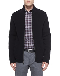 Theory Lacham Ribbed Zip Up Sweater Black