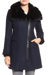 Via Spiga Women's Faux Fur Trim Asymmetrical Wool Blend Coat Midnight