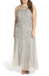 Pisarro Nights Plus Size Women's Illusion Neck Beaded Gown