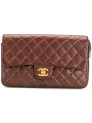 Chanel Vintage Zipped Flap Backpack Brown