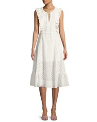 Red Carter Reghan Sleeveless Embroidered Midi Dress White