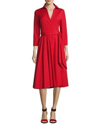 Michael Kors Wrap Front 3 4 Sleeve Shirtdress Crimson