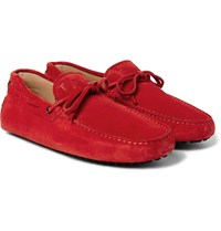 Tod's Gommino Suede Driving Shoes Red