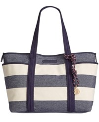 Tommy Hilfiger Dariana Rugby Extra Large Tote Navy Natural