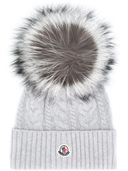 Moncler Cable Knit Pompom Beanie Grey