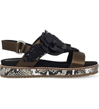 Kurt Geiger Bumble Floral Embellished Satin Sandals Khaki