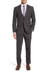 Ted Baker London Jay Trim Fit Plaid Wool Suit Charcoal