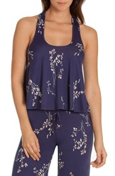 In Bloom By Jonquil Floral Pajama Top Navy Print