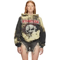 R 13 R13 Black And Yellow Oversized Exploited Punk Hoodie