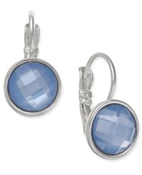 Nine West Silver Tone Faceted Blue Stone Drop Earrings
