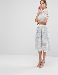 Chi Chi London Premium Lace Skirt Co Ord Grey