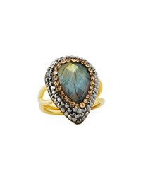 Native Gem Jewelry Ilume Labradorite And Crystal Adjustable Cocktail Ring Gray