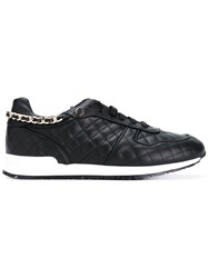 Philipp Plein Quilted Embellished Skull Sneakers Women Leather Rubber 39 Black
