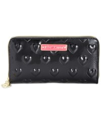 Betsey Johnson Boxed Debossed Heart Zip Around Wallet Only At Macy's Black