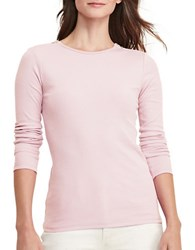 Lauren Ralph Lauren Petite Zip Shoulder Cotton Tee Pale Rose