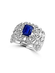 Effy Royale Bleu Sapphire And Diamond 14K White Gold Ring 0.36 Tcw